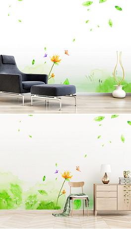 北欧手绘绿草花背景墙壁画