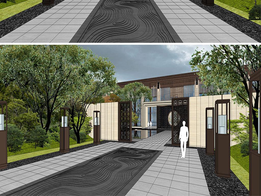 新中式方案庭院小区入口景观景观设计别墅晖别墅东龙悦湾图片