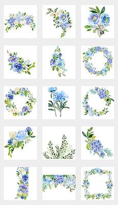 春季水彩手绘鲜花绿叶花环元素免抠png