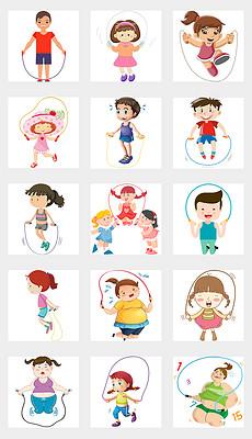 卡通手绘儿童跳绳活动海报PNG免扣素材-手绘卡通女孩图片素材 手绘图片