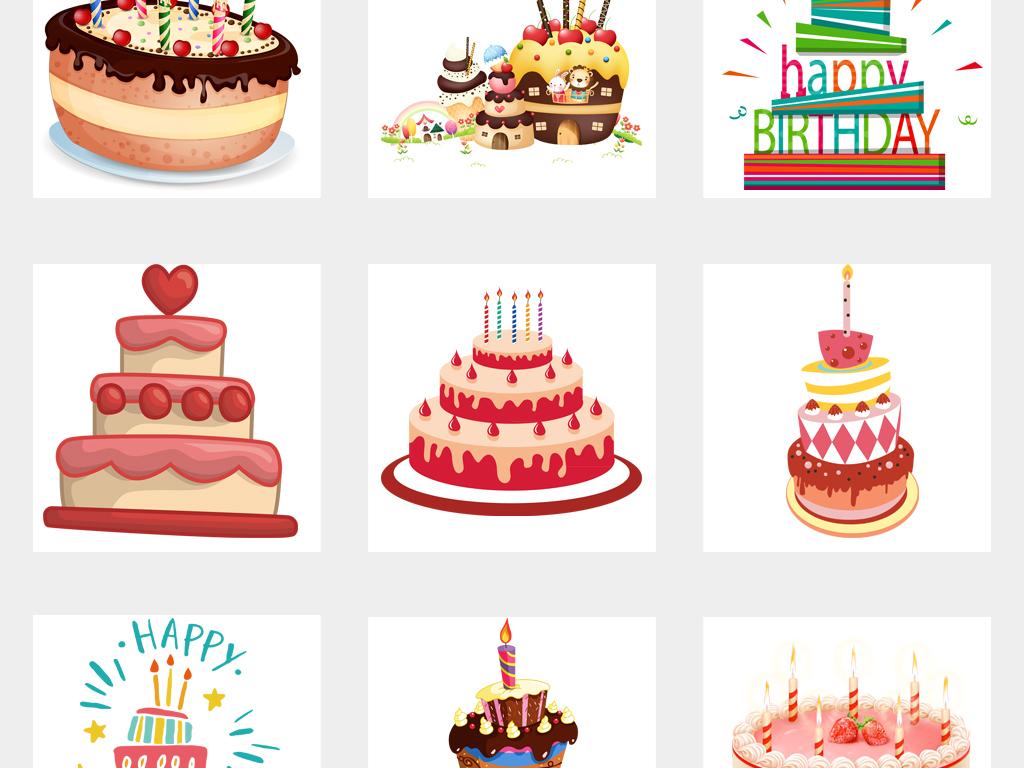 卡通生日手绘蛋糕海报设计png透明免抠元素图片