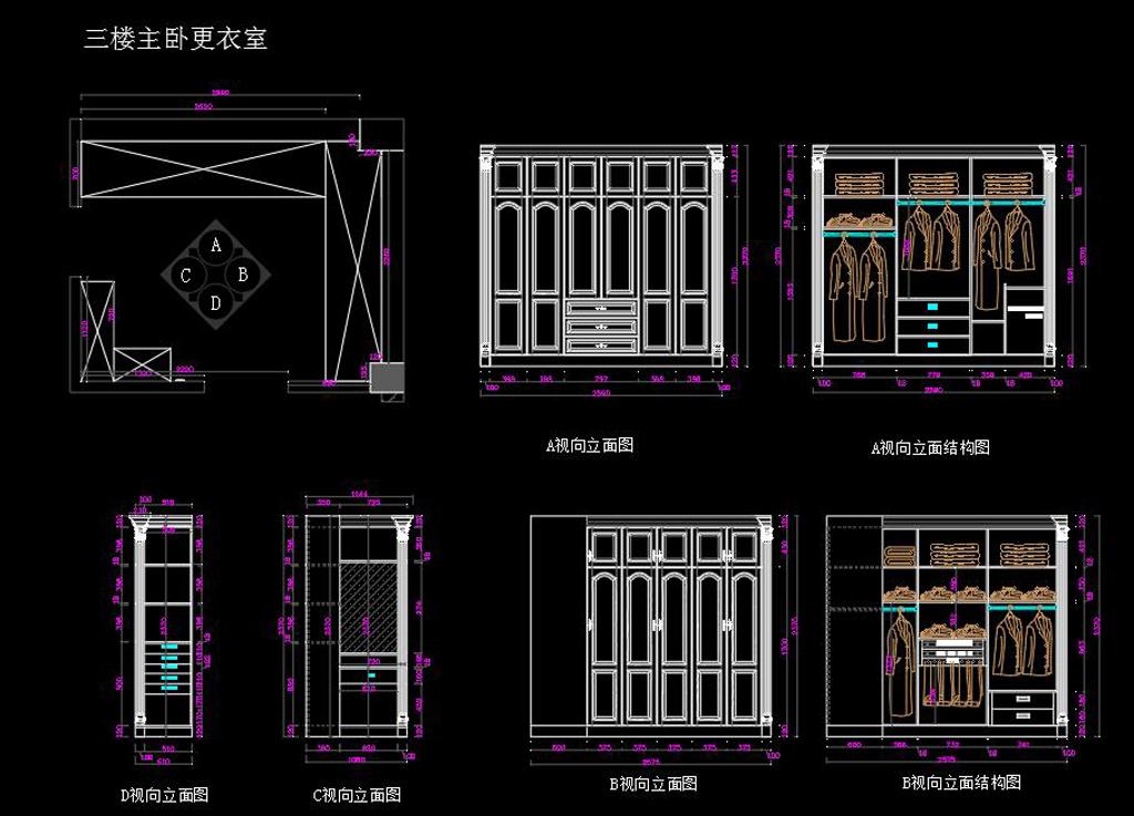 带轮工程定制家具CAD施工图v带轮全套图别墅cad下载图片
