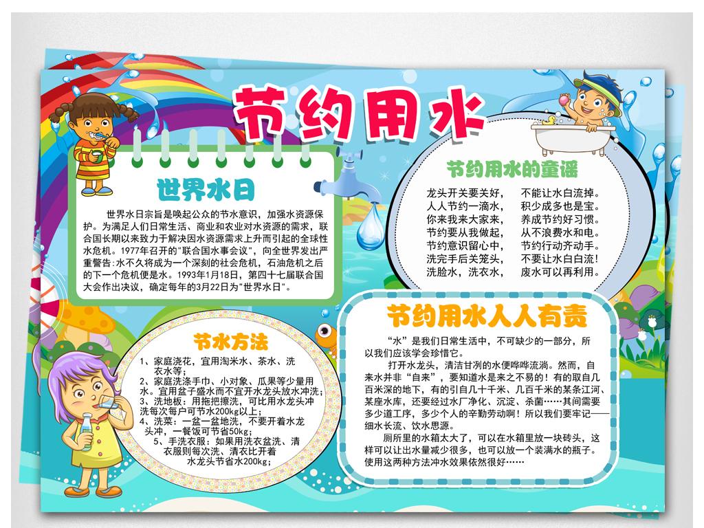 儿童亲子美术《节约用水手抄报》节约用水,珍爱资源,人人有责