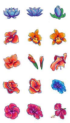 朵手绘鲜花玫瑰花唯美彩绘花png海报素材-PSD花的简笔画 PSD格式