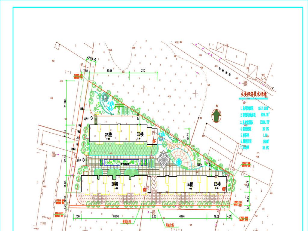 小区施工图方案设计平面图下载 别墅CAD图纸图片大全 编号 17561107