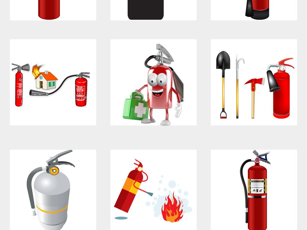灭火器消防漫画小报海报设计PNG元素图片素材 高清模板下载 16.78MB 其他大全