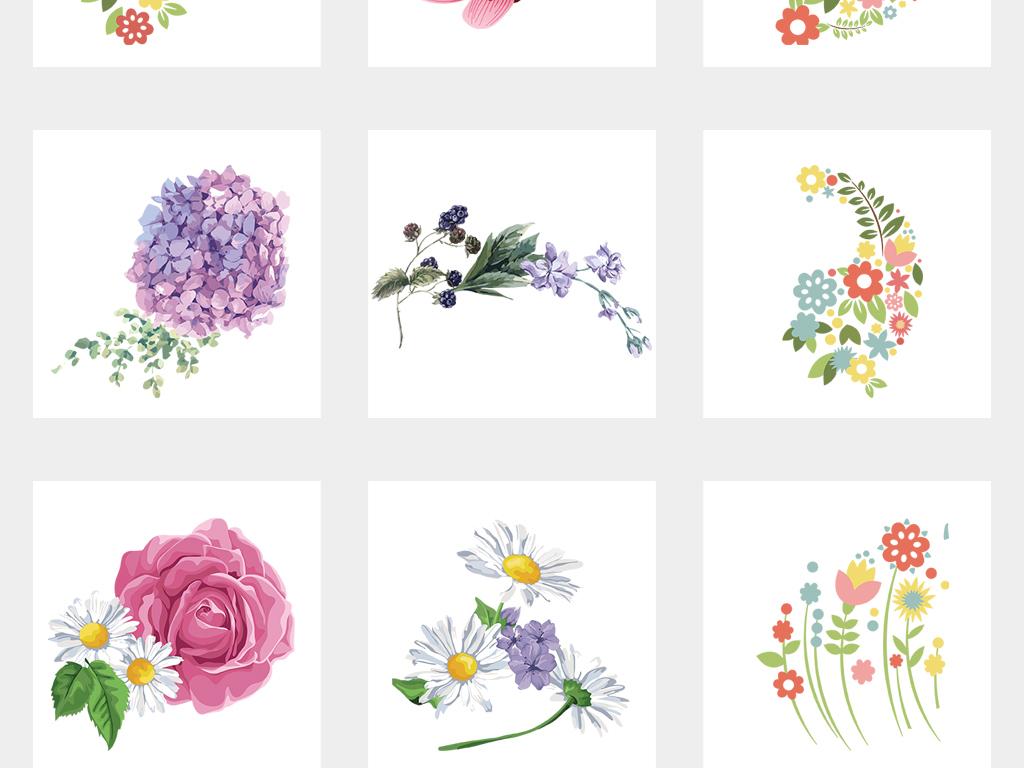 手绘花卉PNG免抠素材图片 模板下载 11.77MB 其他大全 自然