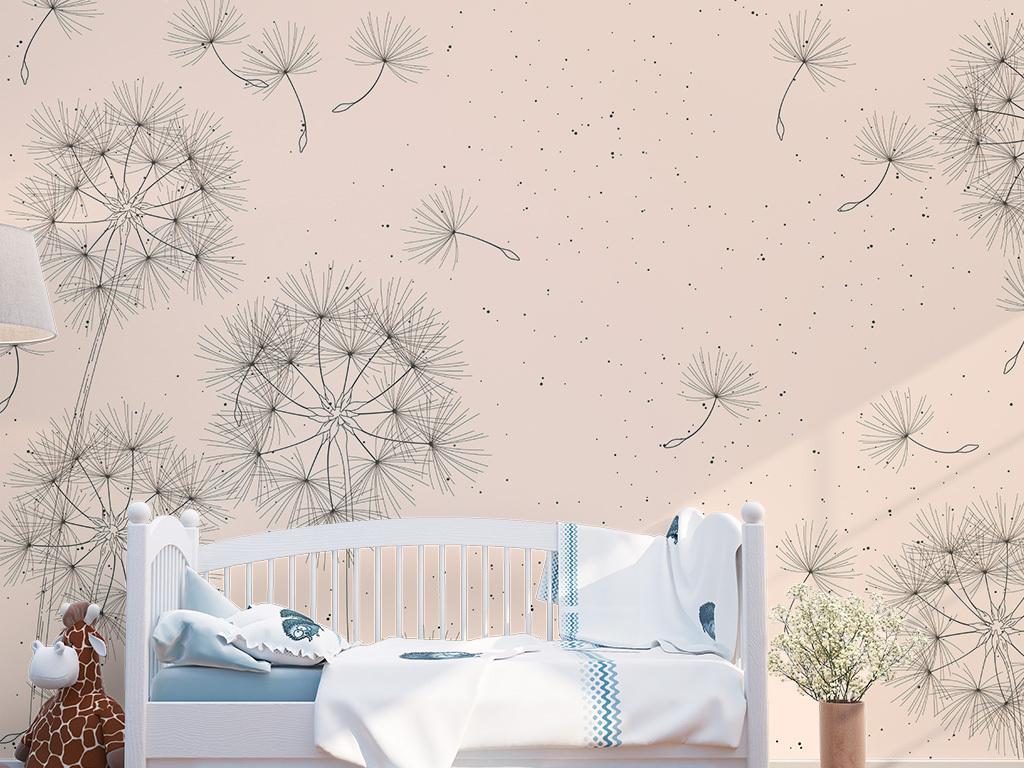 清新ins北欧手绘蒲公英客厅装饰背景墙图片设计素材 高清psd模板下载