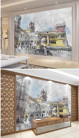 手绘中世纪素描克里姆林宫-JPG克里姆 JPG格式克里姆素材图片 JPG