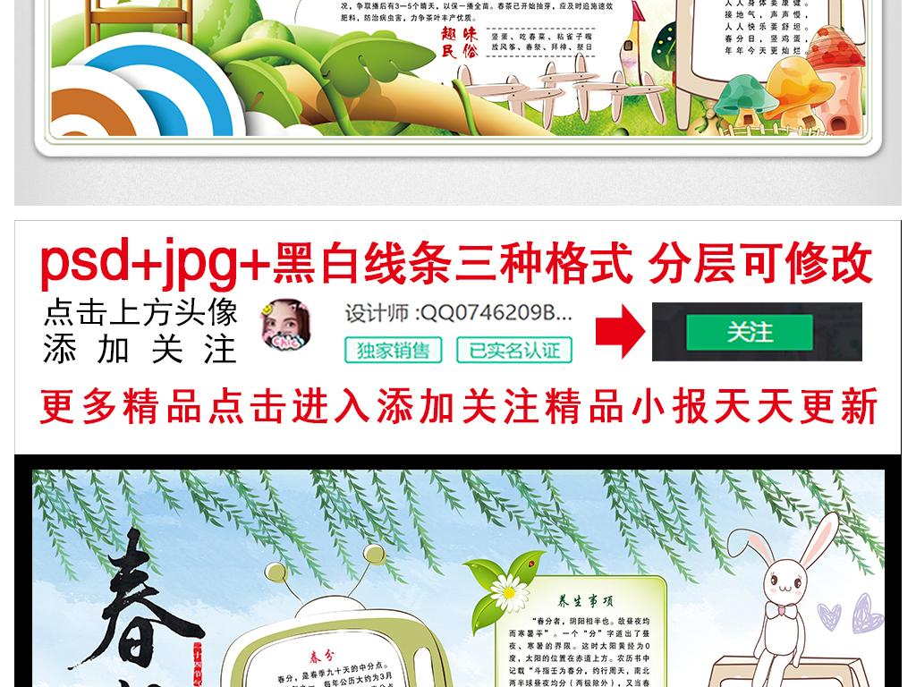 春分小报二十四节气手抄报传统节日电子小报图片素材 psd模板下载