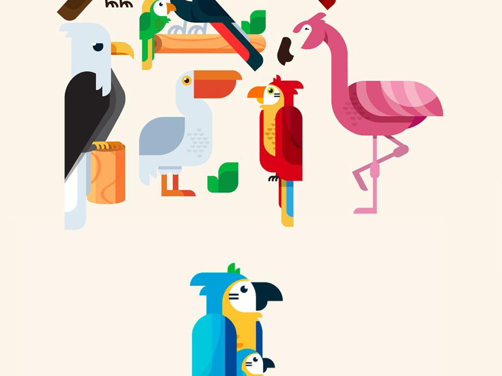 icon 多色图标 动物图标 > 扁平化卡通鸟动物设计ai源文件  素材图片