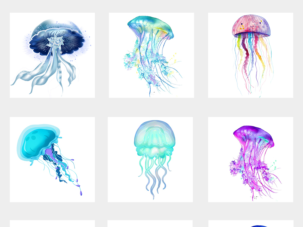 卡通可爱彩色海洋生物水母png免扣素材
