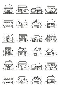 现代手绘城市简笔画建筑矢量图图片素材 ai模板下载 0.72MB 其他大全 标志丨符号