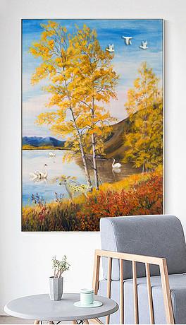 北欧飞鸟麋鹿森林装饰画玄关背景墙手绘-TIF不分层工作室墙绘