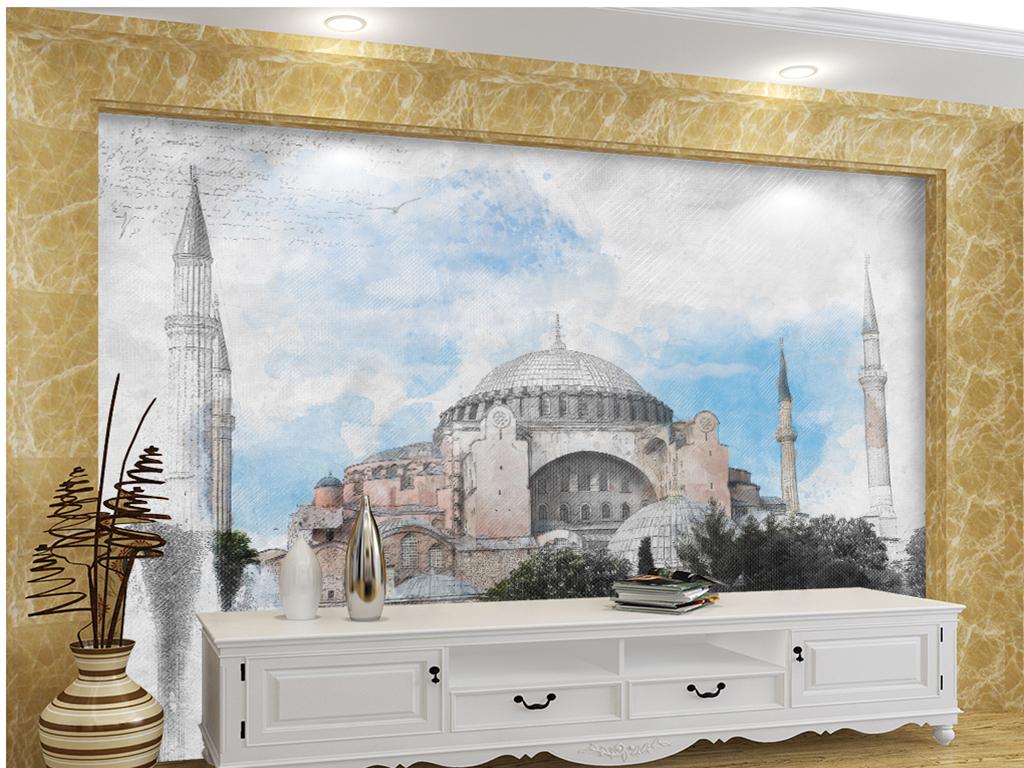 手绘黑白素描泰姬陵图片设计素材 高清模板下载 21.88MB 电视背景墙大全