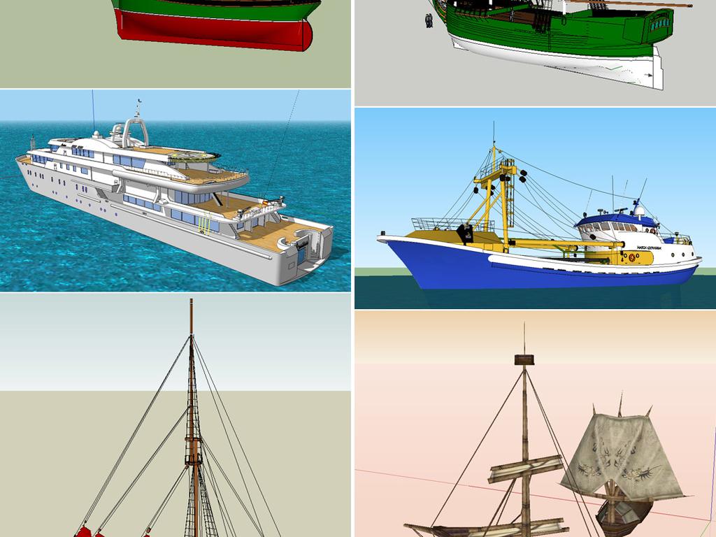211款帆船古船轮船su模型设计图下载 图片222.35MB 其他模型库 其他图片