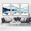 飞鸟新中式水墨山水抽象蓝色三联装饰画