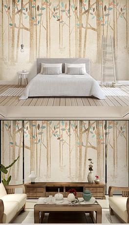 北欧水彩树森林背景墙手绘树美克美家装饰画