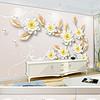 现代3D唯美珠宝花朵背景墙