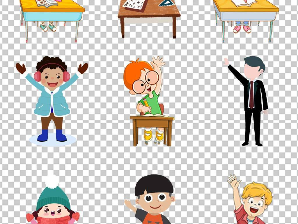 卡通中学生小学生课桌上课举手素材图片
