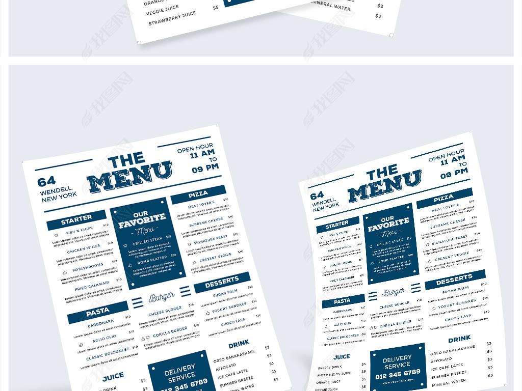 简单简约手绘英文菜单餐厅西餐餐饮宣传单怎样做排骨图片