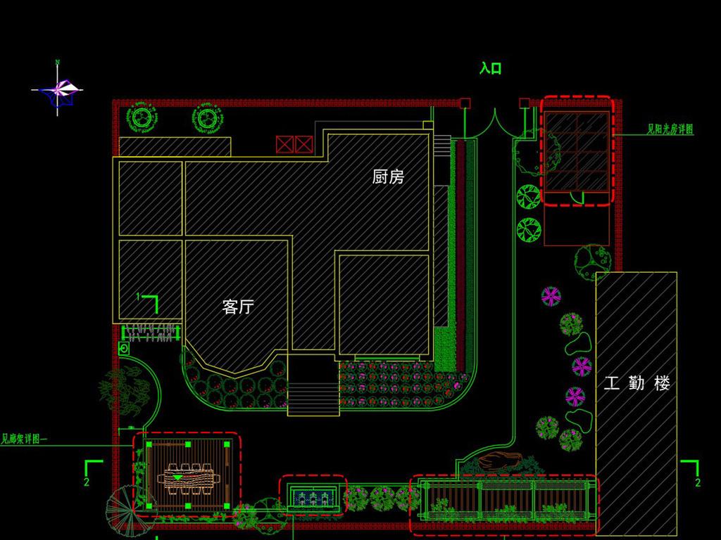CAD方案设计-别墅融科v别墅施工图庭院檀香山别墅图片