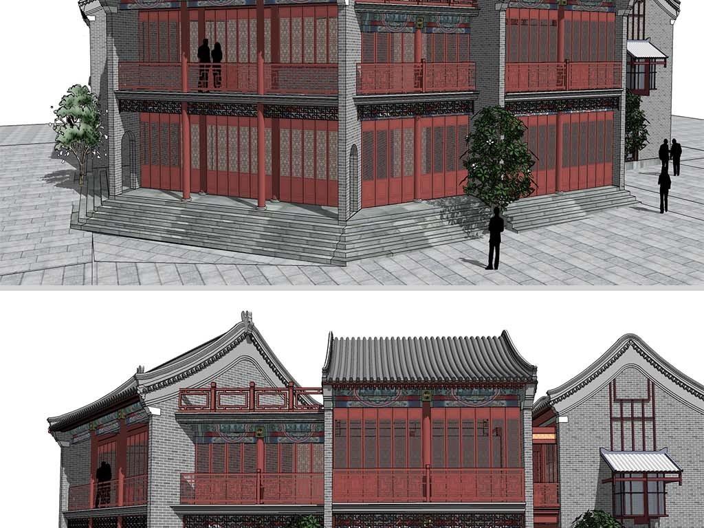 中式新古典卷棚顶古建筑商业街SU模型设计图下载 图片30.84MB 建筑模型库 SU模型