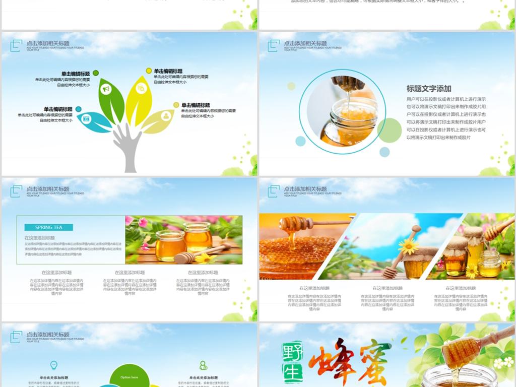 绿色食品蜂蜜蜜蜂养蜂厂蜂王浆PPT模板下载 27.77MB 其他大全 其他PPT