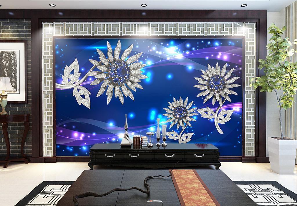 背景镶钻首饰珠宝向日葵蓝色墙装饰画抖音挂微信背景墙图片