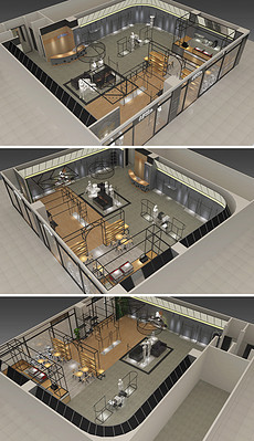 精品机器人科技展厅SU模型及效果图-美术馆展厅图片素材 美术馆展厅