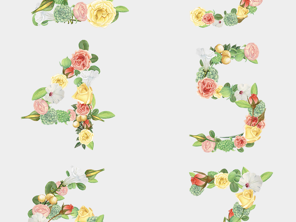 唯美夏季花朵数字0到9免扣鲜花数字png图片