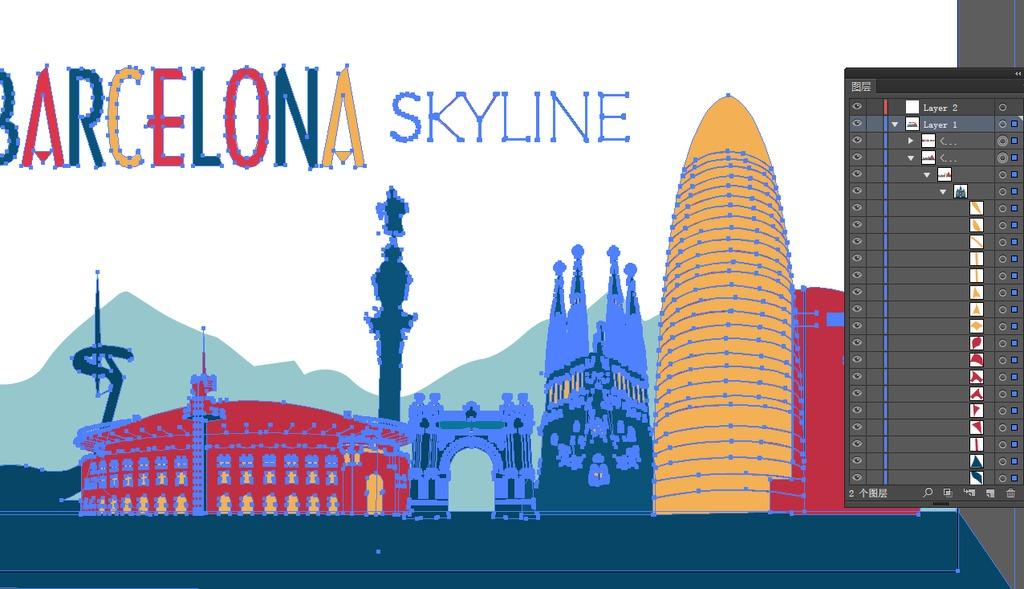 手绘彩色欧洲城市巴塞罗那城市剪影插画设计图片 ai素材下载 城市建筑插画大全 编号 17781596图片