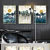 山水风景抽象几何纹理线条现代简约金色北欧装饰画