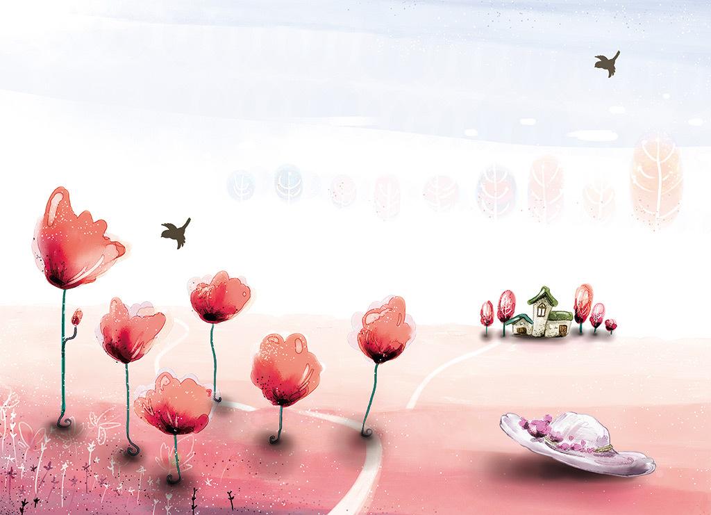 田园风光自然风景画客厅背景墙装饰壁画图片素材 psd效果图下载 现代简约电视背景墙图大全 电视背景墙编号 17804593
