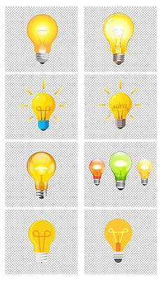 手绘卡通创意发光黄色灯泡图标png素材图片