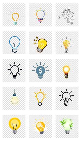 卡通创意灯泡发光照明科学发明png免扣素材图片