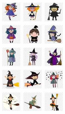 可爱卡通万圣节女巫帽子海报背景png免扣素材