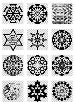 黑白抽象几何构成图案免扣PNG素材-几何圆形图片素材 模板下载 0.00图片