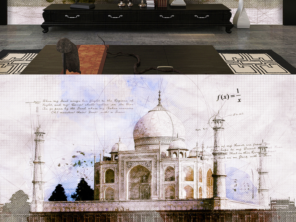 手绘泰姬陵素描手稿图片素材 效果图下载 电视背景墙图大全 电视背景墙编号 17835156