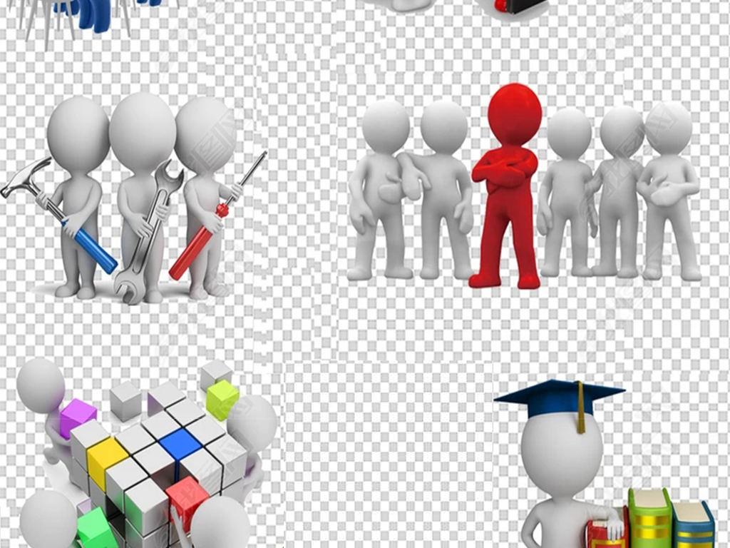 商务合作共赢握手3d合作人物png海报背景素材