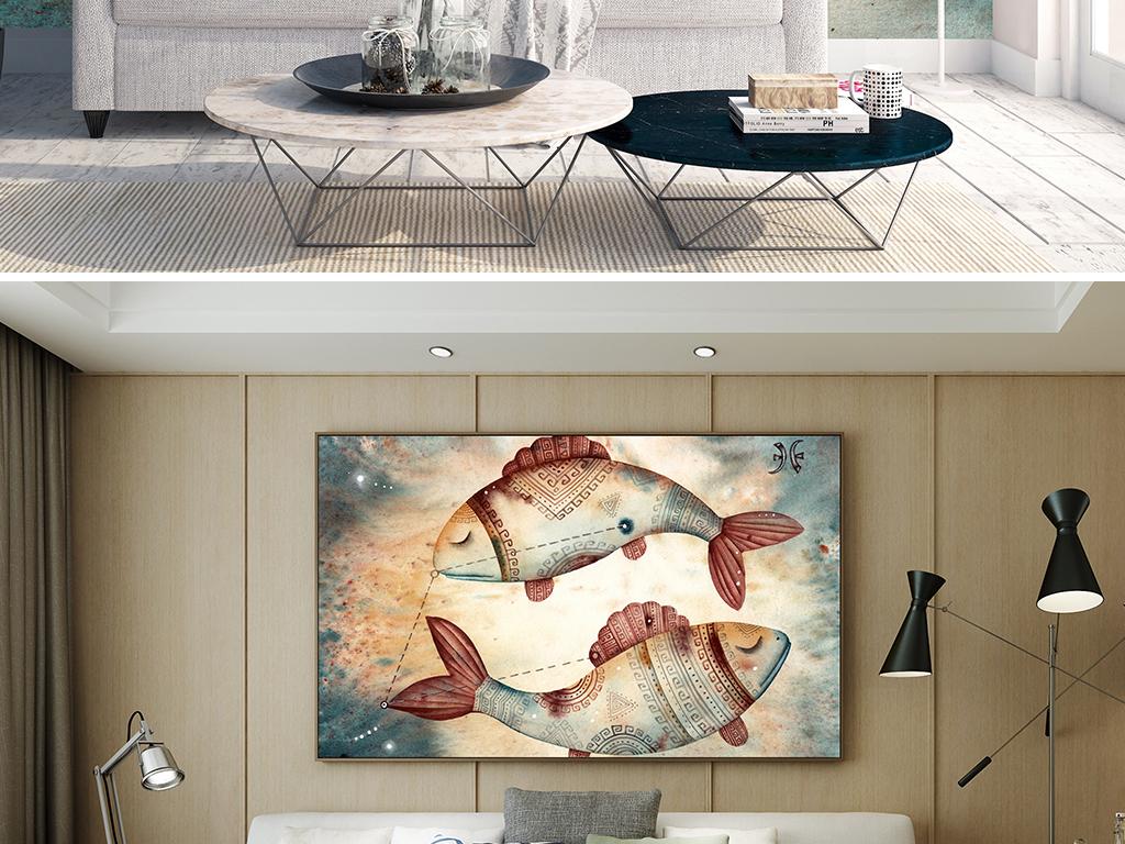 古典唯美星座之双鱼座电视沙发卧室背景墙图片设计素材 高清模板下载