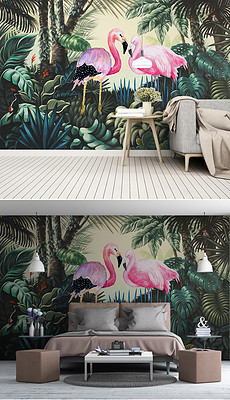 中世纪手绘热带雨林火烈鸟背景墙装饰画-中世纪手绘背景墙图片素材
