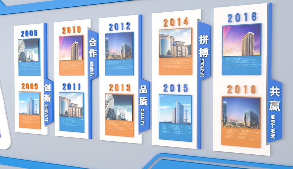 蓝色高档企业文化墙办公室形象墙公司宣传栏设计图片图片