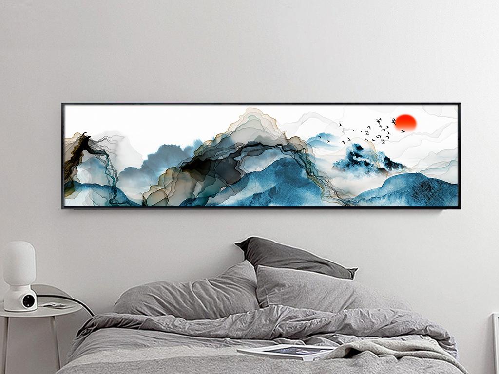 新中式意境抽象线条水墨山水床头装饰画图片设计素材 高清模板下载 87.84MB 山水装饰画大全