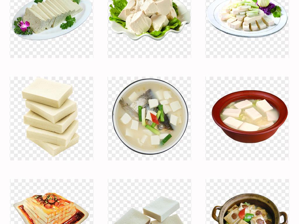实物家常菜美味豆腐手绘豆腐美食海报png素材
