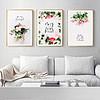 北欧清新文艺粉色玫瑰花卉组合装饰画三联画