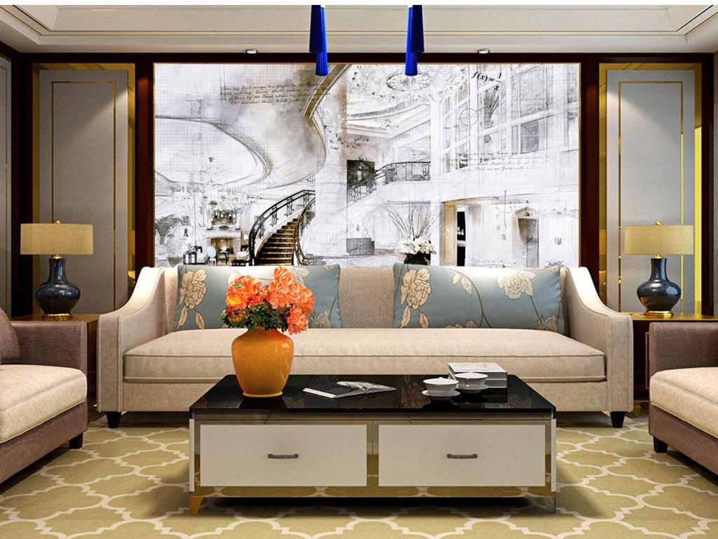 欧式别墅样板客厅楼梯户栋叁仟保利草图别墅图片