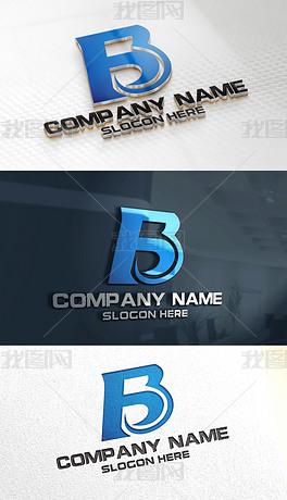 B字母简约背景创意大气LOGO标志设计中式简装电视企业墙设计图图片