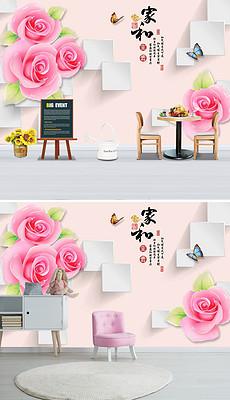 D立体珠宝玫瑰方块背景墙-3D 玫瑰图片素材 3D 玫瑰图片素材下载