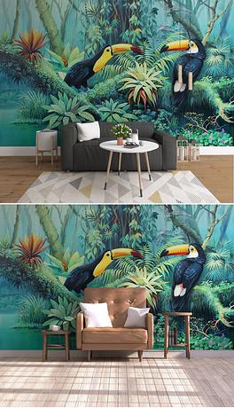 中世纪手绘热带雨林植物大嘴鸟背景墙装饰画-TIF不分层大嘴鸟